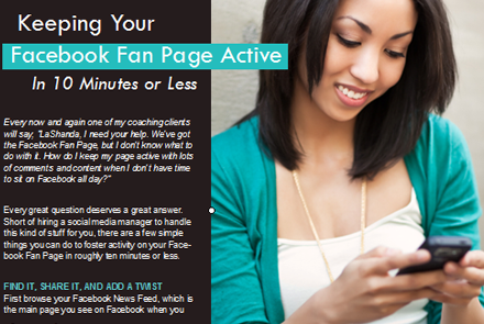 Keeping Your  Facebook Fan Page Active In 10 Minutes or Less