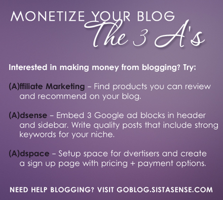 Monetize Your Blog - SistaSense 31 Day Challenge